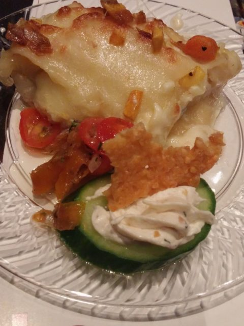 L. May Eatery Pumpkin Lasagna with Spicy Italian Sausage Chicken Breast and Smoked Trout Mousse with Crisp Cucumber