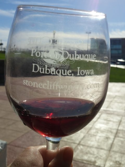 Dubuque Food & Wine event Stone Cliff Winery tasting glass