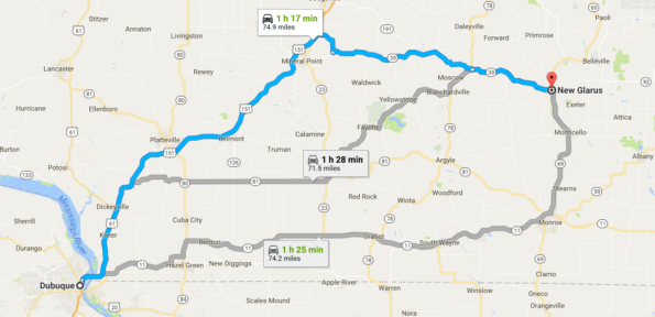 Dubuque to New Glarus Map